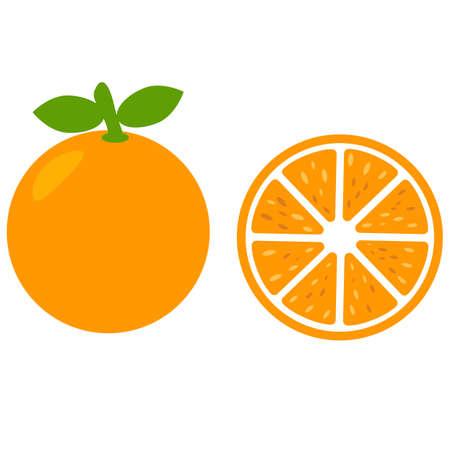 orange fruit icon on white background. orange slice sign. orange peace symbol. organic fruit. flat style.