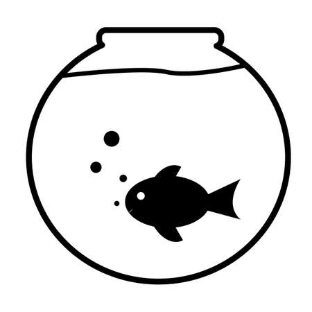 fish bowl icon on white background. aquarium sign. fish swimming in a fish bowl. flat style. 向量圖像