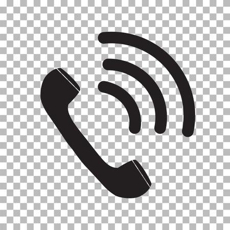 black ringing phone icon on transparent background. retro symbol. flat style. 向量圖像