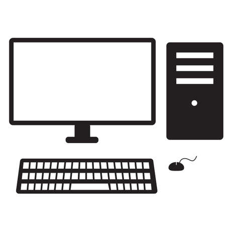 desktop computer icon on white background. computer sign. pc symbol. flat style.