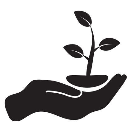 plant in hand icon on white background. leaf and hand sign.  care nature symbol. flat style.