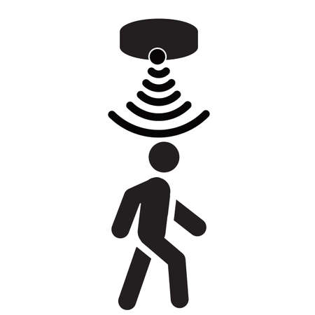 motion sensor icon in flat style. person passing on motion sensor sign. people security connection business concept. flat style.