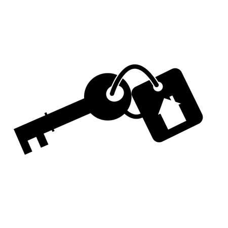 key chain with house locket icon on white background. keychain with key ring sign. house with keyhole symbol. flat style. Ilustração