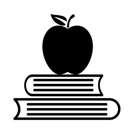 books with apple icon on white background. education sign. knowledge book education symbol. flat style.