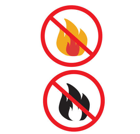 no fire icon on white background. no open flame sign. forbidden fire symbol. flat style. Ilustração
