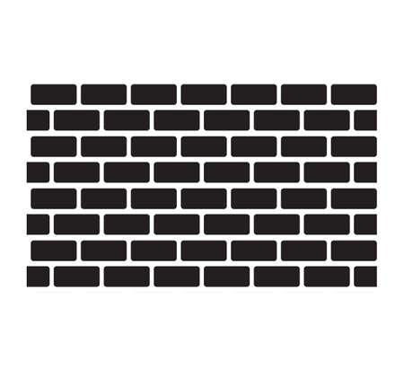 wall brick icon white background. wall sign. black brick wall seamless background. flat style.