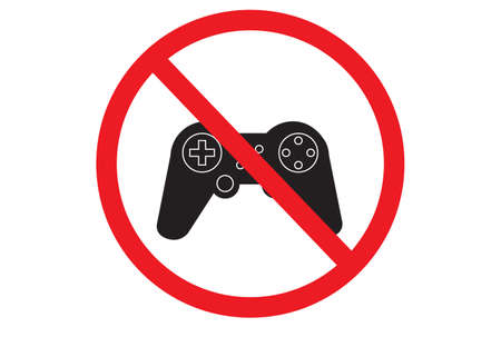 game is prohibited icon on white background. no gaming sign. flat style.