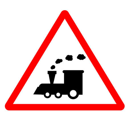 train warning sign on white background. railway train level crossing road sign. railway symbol. flat style.