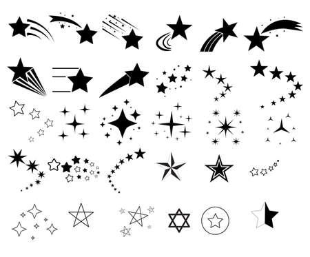shooting stars icon on white background. star trail symbol. star sign. stardust falling logo. flat style. Ilustração