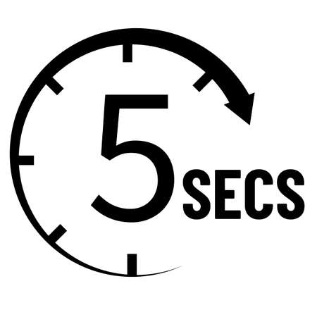 5 seconds countdown timer icon. time measure sign. time interval symbol. flat style.