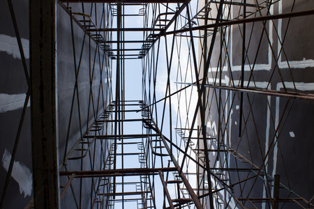 overbuilding: Scaffolding on a construction site
