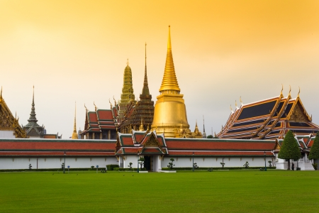 View of Wat Phra Kaew Complex from NortheastTemple Complex of the Emerald Buddha photo