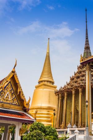 Golden pagoda of Wat Phra Kaeo, famous landmark and temple close to Grand Palace in Bangkok  Phra Siratana Chedi  photo