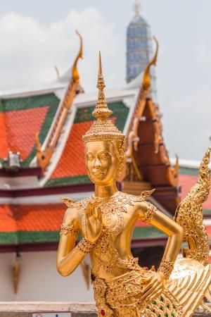 Statue of a kinnaree in Wat Phra Kaew photo