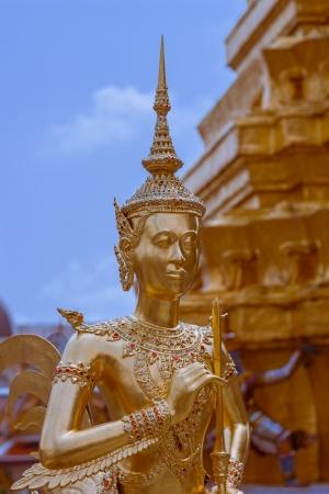 Statue of a kinnaray in Wat Phra Kaew photo