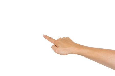 Hand with index finger, isolated on a white background photo
