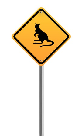 Kangaroo Crossing Warning Sign Symbol photo
