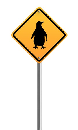 Penguin,linux Crossing Warning Sign Symbol Stock Photo - 20040368
