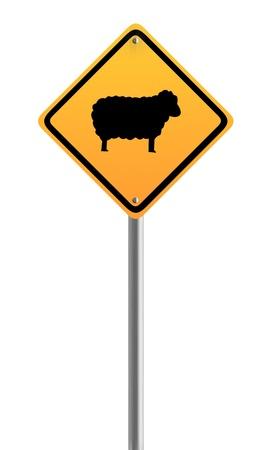 sheep warning: Sheep road warning sign
