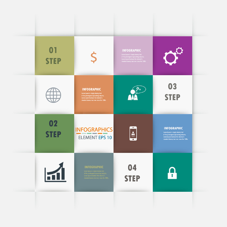 Modern Infographic Squares background  Vector template  Vector