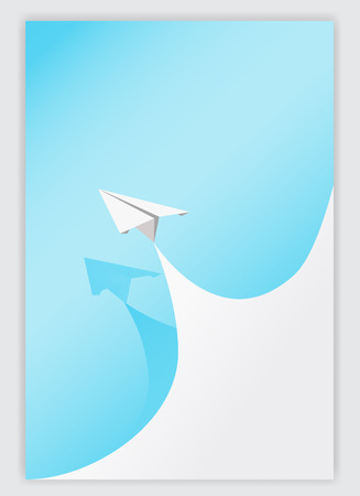 paper curl: blue paper curl corner white and airplane background.vector illustrator design template.
