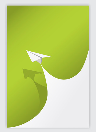 paper curl: green paper curl corner white and airplane background.vector illustrator design template.