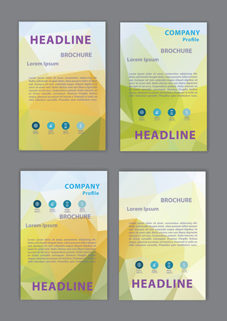 set of geometric cover abstract design brochure flyer design