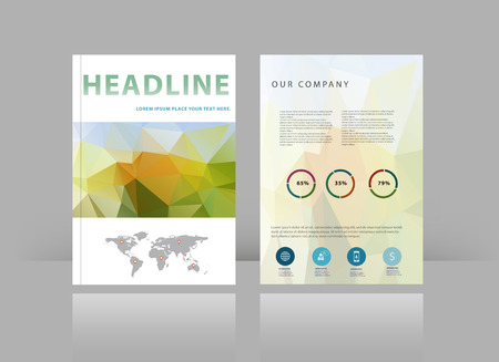 Vector brochure design template with green and orange elements. Vector