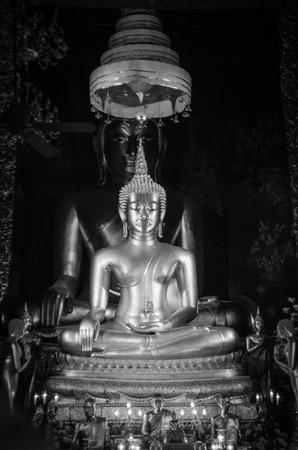 vihara: image of Buddha in Wat Bowonniwet Vihara Stock Photo