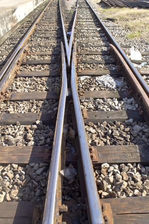 Detail of railway railroad tracks for train Stock Photo - 12655506