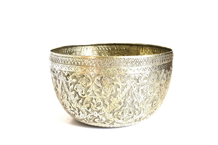 silver bowl with white background