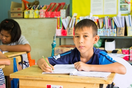 thai student study in classroom