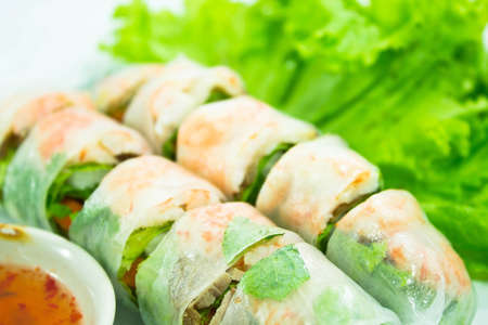 vietnamese food  pork   shrimp salad rolls