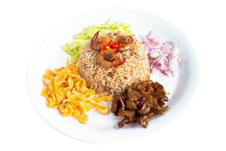 Colorful Thai food named Kao Kluk Ka Pi Stock Photo