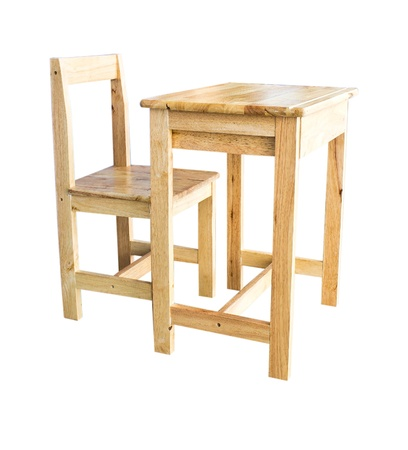 wood chair and wood table photo