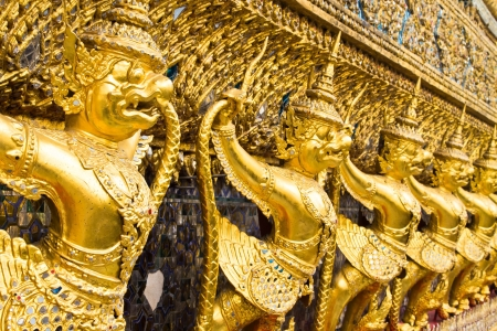 Thailand  The Grand Palace  Temple of the Emerald Buddha  Gold ornamental pattern statuettes  Stock Photo