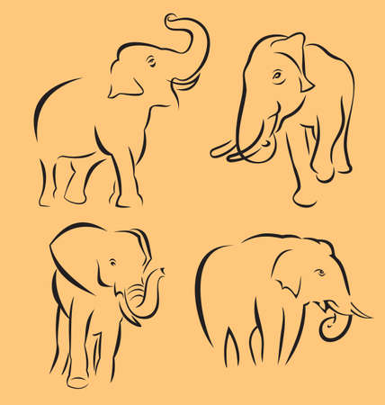set of easy elephent outline