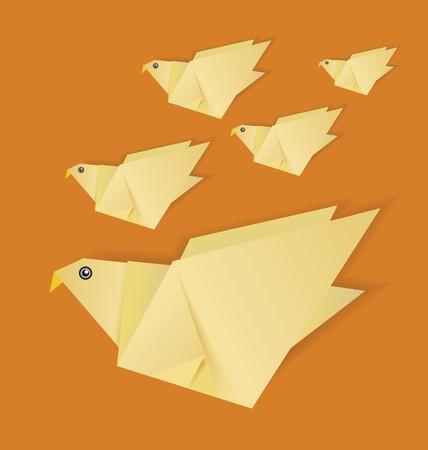 origami bird on isolated background