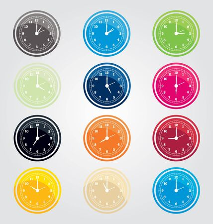 symbole: vector illustration of  clock set