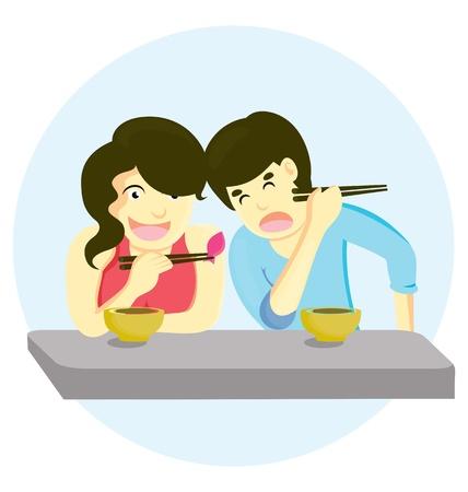 pareja comiendo: los niños y niñas disfruten de una alimentación emabrgo Vectores