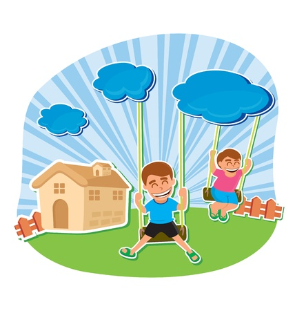 vector illustration of kids playing Vector