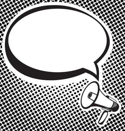 loudhailer: ilustraci�n vectorial de meg�fono con el tono medio