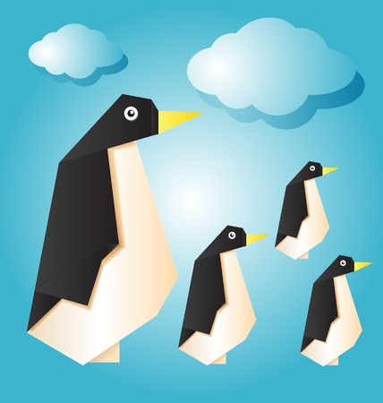vector illustration of penguin family Vector