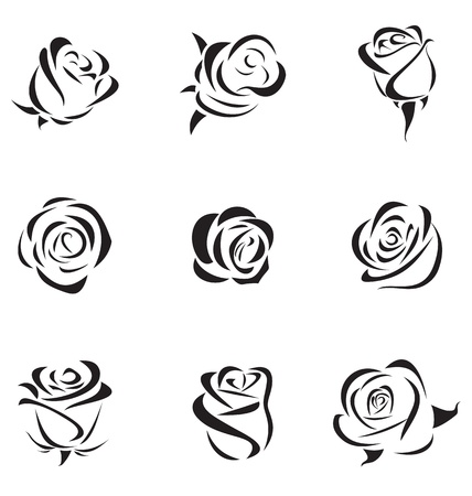 vector illustration of  outline rose set Иллюстрация
