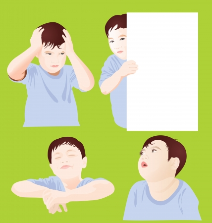 expressive mood: vector illustration of active boy