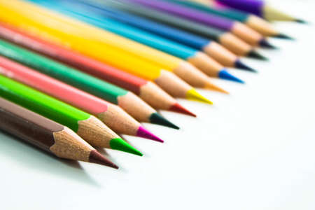 colour pencil on white background Stock Photo
