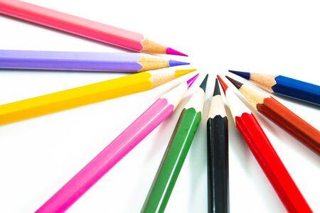 colour pencil on white background Stock Photo