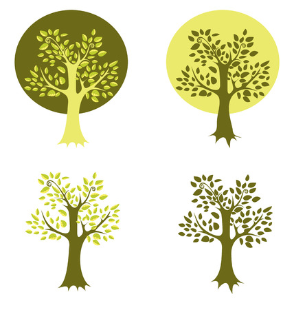 lone tree: Illustration  of eco tree, Isolated on white background