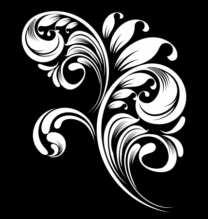 black and white floral elements for design