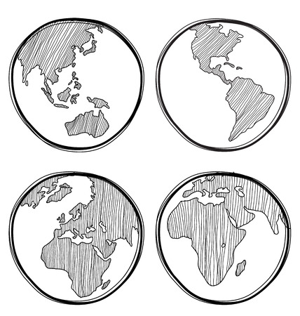 Vector illustration of  hand-drawn global